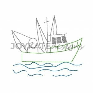 Vintage Bean Stitch Shrimp Boat Design for Machine Embroidery
