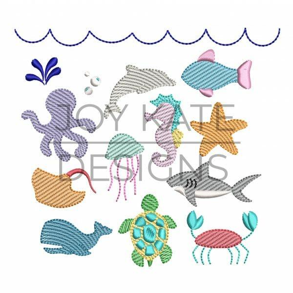Set of 10 Mini Fill Sea Creature Machine Embroidery Designs