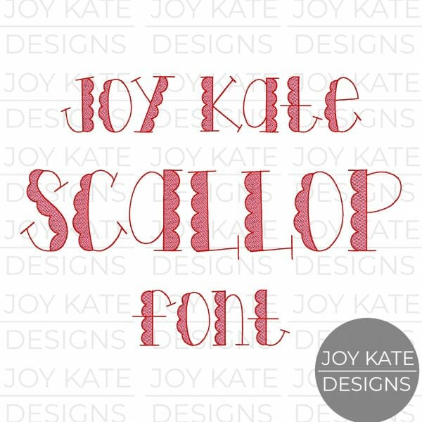Vintage Scallop Bean Stitch Font with Sketch Fill Machine Embroidery Design