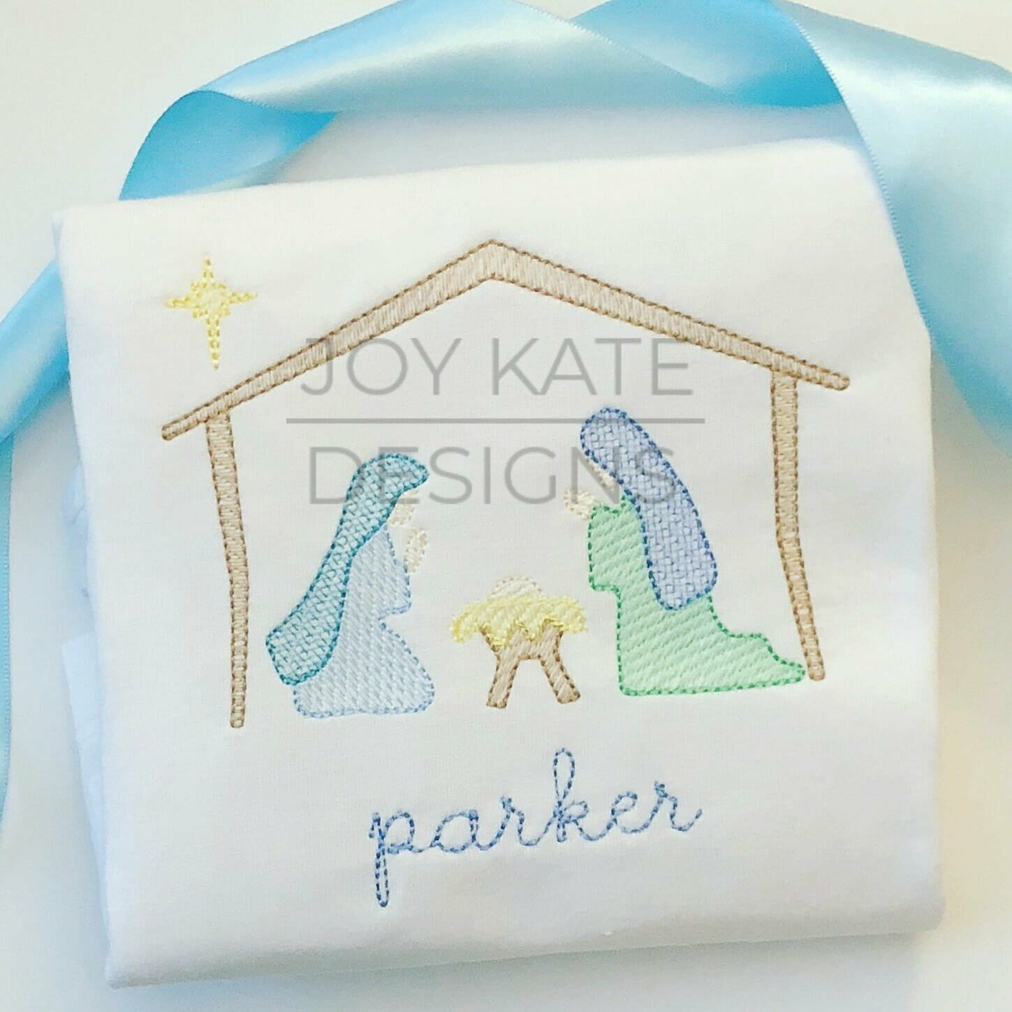Christmas Nativity Scene Vintage Sketch Embroidery Design