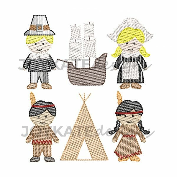 Set of 6 Mini Thanksgiving Sketch Fill Designs for Machine Embroidery