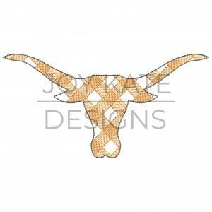 Sketch Gingham Longhorn Embroidery Design