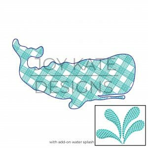 Vintage style gingham print whale embroidery design