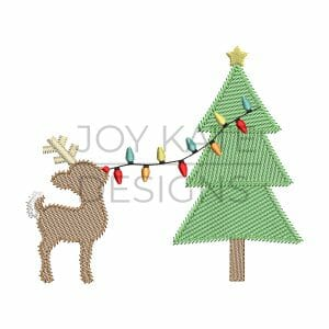 Vintage Style Rudolph Reindeer Putting Lights on Christmas Tree Sketch Machine Embroidery Design