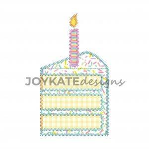 Vintage Zigzag Stitch Birthday Cake Applique Design for Machine Embroidery