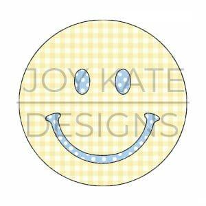 Smiley Face Bean Stitch Applique Design for Machine Embroidery