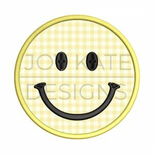 Smiley Face Satin Stitch Applique Design for Machine Embroidery