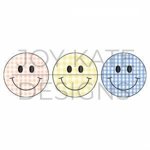 Smiley Face Trio Bean Stitch Applique Design for Machine Embroidery