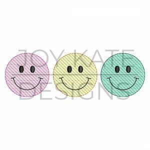 Smiley Face Trio Sketch Design for Machine Embroidery