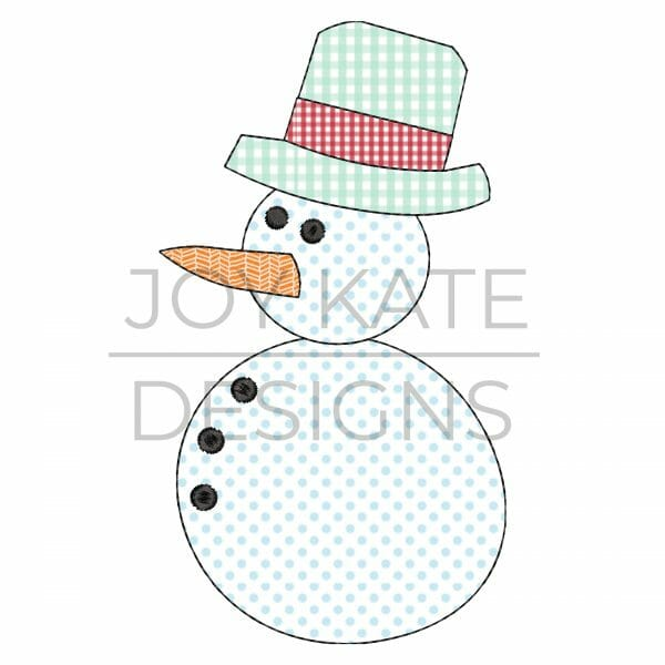 Vintage Snowman Applique Design for Machine Embroidery