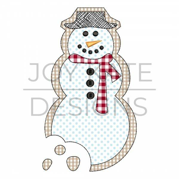 Snowman iced sugar cookie bean stitch applique design for machine embroidery