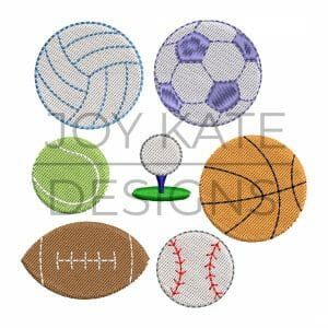 Set of 7 Mini Fill Stitch Sports Ball Designs for Machine Embroidery