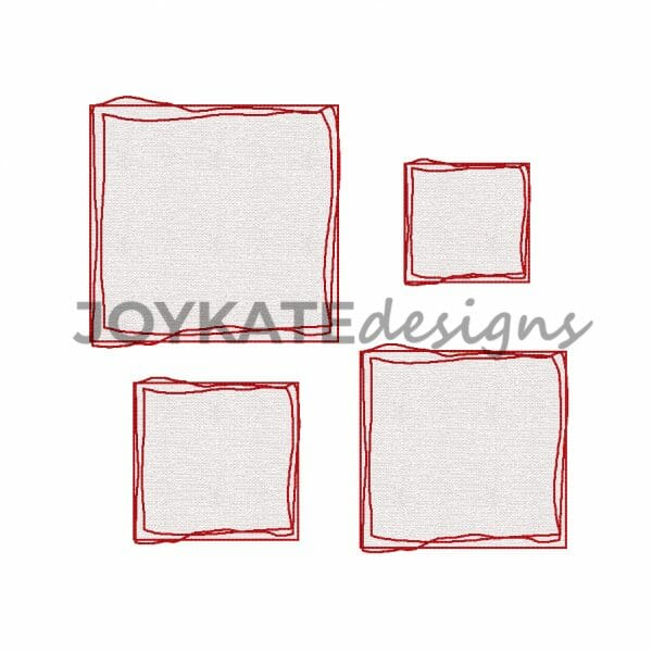 Set of 4 Scribble Stitch Square Frame Appliques for Machine Embroidery
