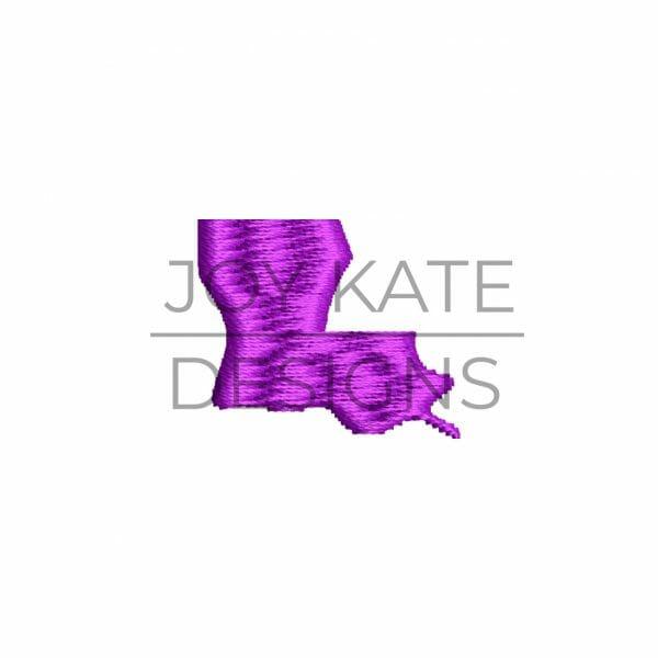 Mini Satin Fill Stitch State of Louisiana Embroidery Design
