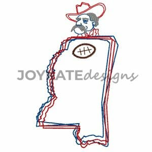 Vintage Scribble Bean Stitch Mississippi Outline