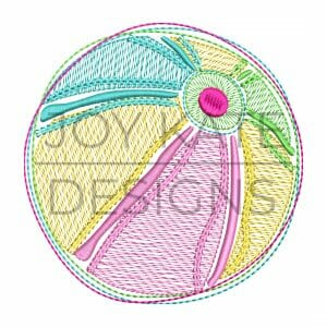Rainbow Beach Ball Sketchy Stitch Machine Embroidery Design