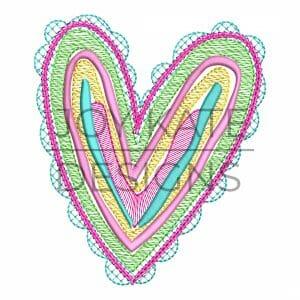 Rainbow Heart Sketchy Stitch Machine Embroidery Design.