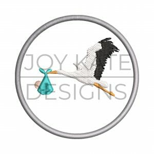 Baby and stork Christmas ornament embroidery design