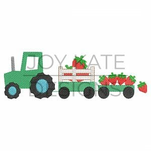 Sketch Strawberry Farm Tractor Embroidery Design