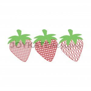 Light Fill Three in a Row Strawberry Design for Machine Embroidery