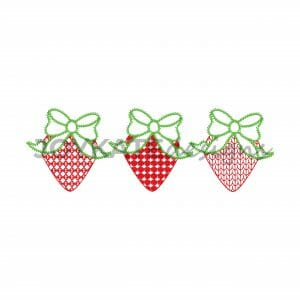 Light Fill Strawberry Three in a Row Design for Machine Embroidery