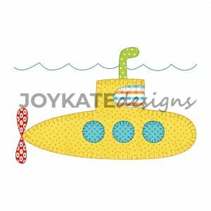 Blanket and Bean Stitch Summer Submarine Design for Machine Embroidery