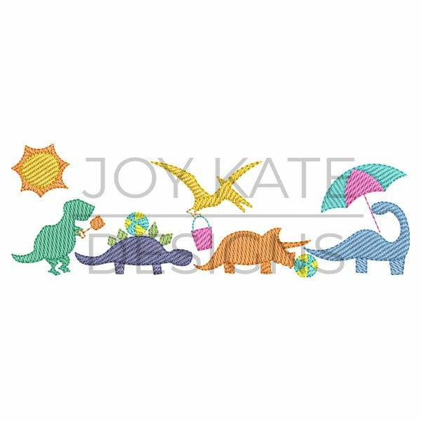Row of four light sketch fill beach dinosaurs embroidery design