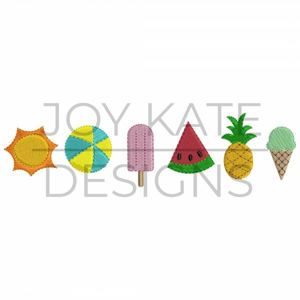 Set of 6 Mini Fill Stitch Summer Designs for Machine Embroidery