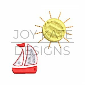 sunshine and sailboat summer mini embroidery design