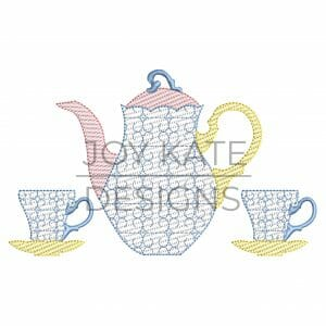 Vintage teapot and tea cup design for machine embroidery