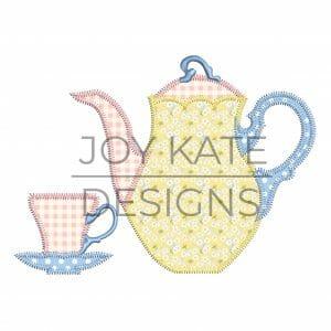 Teapot and tea cup vintage zigzag applique design for machine embroidery