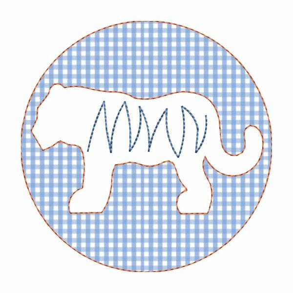 Circle with tiger applique design for machine embroidery