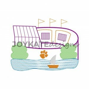 Purple and Orange Football Stadium with Lake Design for Machine Embroidery