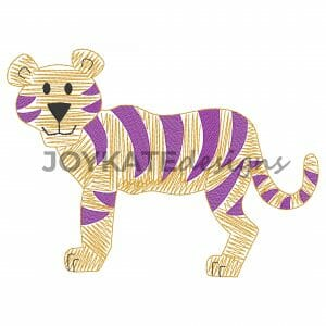 Vintage Style Tiger Design for Machine Embroidery