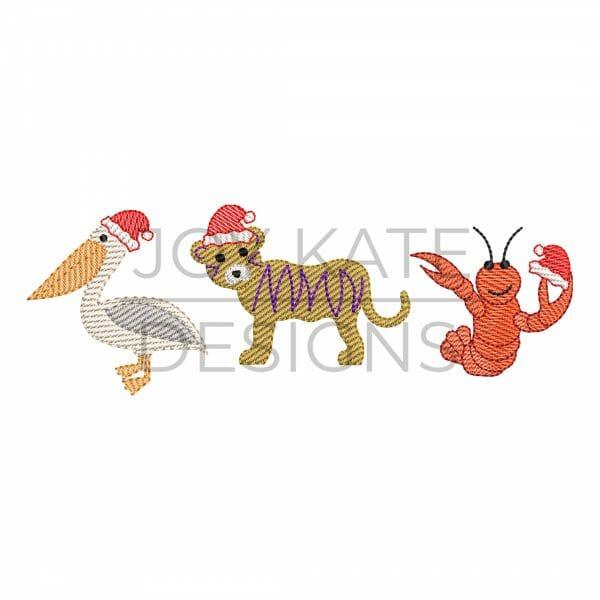 Louisiana Christmas animals light fill/low density machine embroidery design