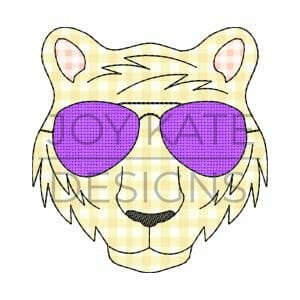 Vintage Tiger Face with Sunglasses Applique Design for Machine Embroidery