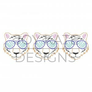 Three in a row tigers with sunglasses vintage bean stitch embroidery design