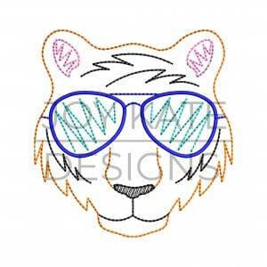 Vintage Tiger Face with Sunglasses Design for Machine Embroidery