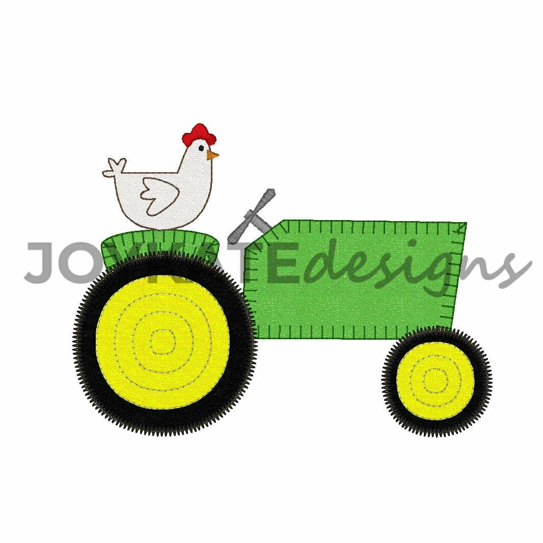 Chicken on farm tractor applique embroidery design joy