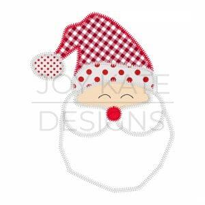 Santa Claus Zigzag Applique Design for Machine Embroidery
