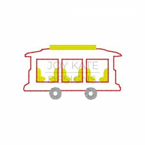 Trolley machine embroidery design with vintage stitch outline