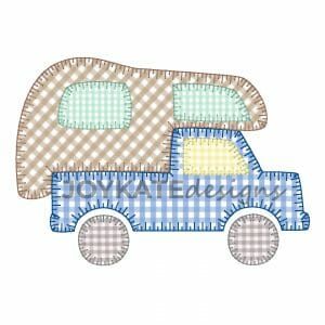 Truck Camper Applique Design for Machine Embroidery