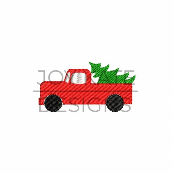 Mini Fill Stitch Truck with Christmas Tree Embroidery Design