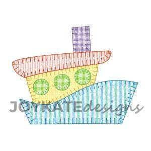 Vintage Blanket Stitch Tugboat Design for Machine Embroidery