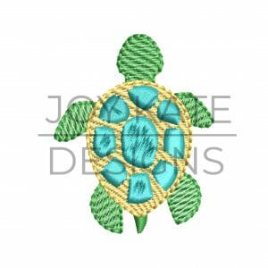 Low density/light fill turtle embroidery design