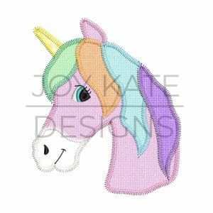 Unicorn zigzag applique design for machine embroidery