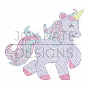 Unicorn sketch design for machine embroidery