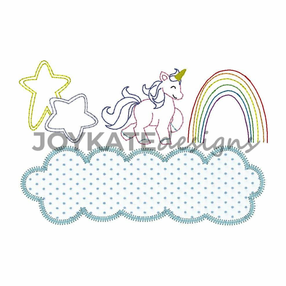 Unicorn Trio with Cloud Applique Embroidery Design | Joy Kate Designs