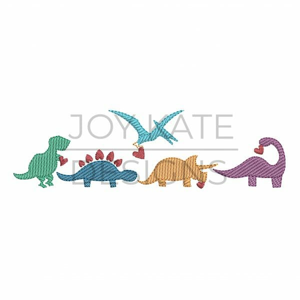 Row of four light sketch fill Valentine's Day dinosaurs machine embroidery design