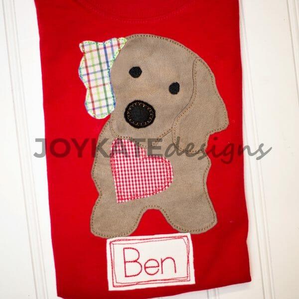 Raggy Bean Stitch Valentine's Day Puppy Dog Applique